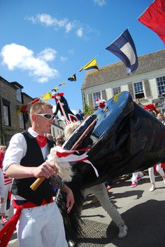 MAY DAY (01 May) | Padstow (2012): Obby Oss. Padstow, Cornwall ✫ღ⊰n
