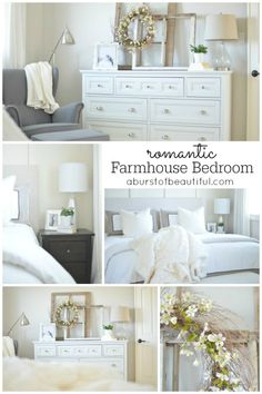 Romantic Farmhouse Bedroom - A Burst of Beautiful. It's a sanctuary. It is truly tranquil and relaxing, and we love that it is a quiet place to unwind after a hectic day. Farmhouse Master Bedroom, Cozy Bedroom, Dream Bedroom, Home Decor Bedroom, Bedroom Ideas, Modern Bedroom, Decor Room, Bedroom Designs, Bedroom Dressers