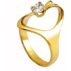 Arosha Luigi Taglia Isis Diamond 14k Yellow Gold Ring  ❤ liked on Polyvore