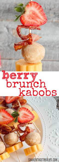 Berry Brunch Kabobs - all the best parts of brunch, easy to serve and easy to eat! I think these would even be awesome for the kiddos' lunch boxes!