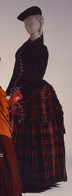 1888 British Plaid Wool Dress