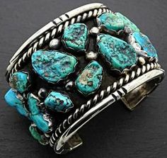 [gallery] // Statement turquoise silver cuff bracelet, made by a Navajo artist. // Amazing cuff bracelet, perfect for everyday wear. Awesome for bikers, Nav Turquoise Cuff, Turquoise Gemstone, Turquoise Jewelry, Turquoise Bracelet, Kingman Turquoise, Vintage Turquoise, Gold And Silver Bracelets, Sterling Silver Cuff Bracelet, Silver Rings
