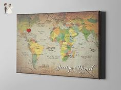 SALE 50% Off Canvas Guest Book, Retro World Map Guest Book, Travel Themed Map GuestBook Alternative, Gift Ideas for Wedding Couples, FREE SHIPPING! - CGB97 - Wedding guestbooks (*Amazon Partner-Link)