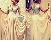 Long Prom Dresses, V-neck Formal Dresses, Pleats Beautiful Chiffon Evening Gowns, Sequined Champagne Prom Dress Grad Dresses, Homecoming Dresses, Bridesmaid Dresses, Formal Dresses, Wedding Dresses, Dress Prom, Sequin Dress, Bridesmaids, Sequin Top