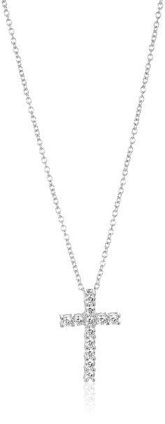 Platinum-Plated Sterling Silver Swarovski Zirconia Cross Pendant, 18' > Startling review available here  : trend jewelry 2016