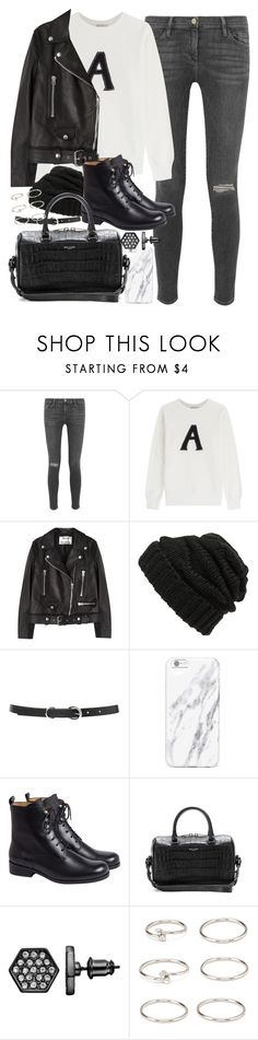 """""""Outfit for winter with black leather boots and jacket"""" by ferned ❤ liked on Polyvore featuring Frame, AG Adriano Goldschmied, Acne Studios, Leith, Forever 21, Yves Saint Laurent and Simply Vera"""