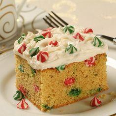 Festive Eggnog Cake recipe, food