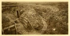 The Zonnebeke sector near Ypres in 1919 showing a trench system with dugout/tunnel entrance. Department Of Veterans Affairs, Flanders Field, War Image, World War I, Wwi, First World, Archaeology, Soldiers, Trench