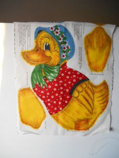 Sewing Panel Mother Goose Vintage Duck Pillow by MadkDesigns, $9.99