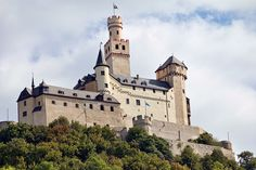 Marksburg Castle can be found along the Rhine River in Germany.