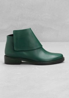& Other Stories ankle boots. They also come in black, but the green is prettier.