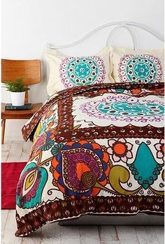⋴⍕ Boho Decor Bliss ⍕⋼ bright gypsy color & hippie bohemian mixed pattern home decorating ideas - bold bed quilt