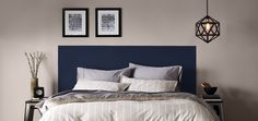 Painted Navy headboards  Neutral walls
