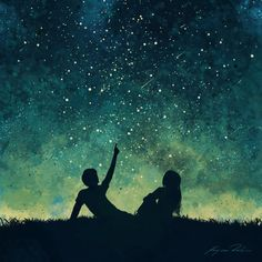 Just In Time : Concept art – Kajsa Råsten Night Sky Painting, Star Painting, Couple Painting, Galaxy Painting, Galaxy Art, Night Sky Drawing, Photoshop Art, Sky Art, Silhouette Art