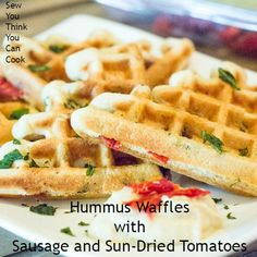 Hummus Waffles with Sausage and Sun-Dried Tomatoes for #WaffleWeek2015 from Sew You Think You Can Cook