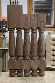 These beautiful walnut legs are our Farmhouse pattern. Wood Turning Projects, Furniture Legs, Table Legs, Woodturning, Lathe, 3d Design, Cnc, Farmhouse, Kitchen