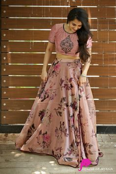 Product Details: Skirt: Tissue Raw silkTop: Organza silk, floral printed with bead embroidery on yoke and sleeve Indian Gowns Dresses, Indian Fashion Dresses, Dress Indian Style, Indian Designer Outfits, Skirt Fashion, Lehenga Saree Design, Lehenga Designs, Kurta Designs, Floral Lehenga