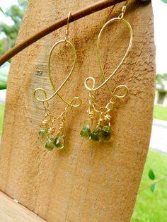 Gold and quartz briolette chandelier earrings