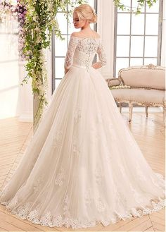 Buy discount Marvelous Tulle & Satin Off-the-shoulder Neckline Ball Gown Wedding Dresses With Lace Appliques at Dressilyme.com