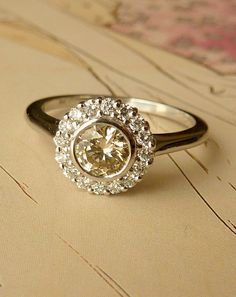 White Gold Bezel Set Diamond Halo Ring by kateszabone on Etsy, $1995.00