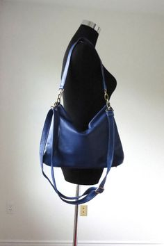Navy leather hobo handmade leather purse/ navy by Adeleshop, $158.00