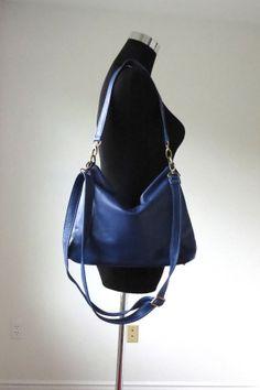 Navy leather hobo handmade leather purse/ navy by Adeleshop, $158.00