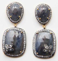 925 STERLING SOLID SILVER GOLD VERMEIL BLUE SAPPHIRE AAA CZ 2-TONES EARRINGS  #Handmade #Victorian