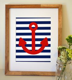 Nautical theme nursery 11 x 14 print- Anchor wall art-baby boy nursery-teen boy room- nautical prints set- navy and red nursery- lakehouse. $13.00, via Etsy.