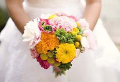 Beautiful colorful bridal bouquet via Para Ti Novia