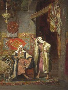 Arnoldo Corrodi (Italian, 1846-1874) An idle conversation 1872 http://www.christies.com/lotfinderimages/d59385/d5938573q.jpg