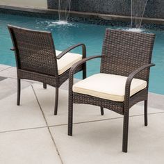 Christopher Knight Home Corsica Outdoor Wicker Dining Chair with Cushion (Set of 2) - 17546946 - Overstock.com Shopping - Big Discounts on Christopher Knight Home Dining Chairs