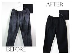 Comfy-wear needs love too! Faded and bleach stained pants get a new life with @dyeitblack #reuse #restore