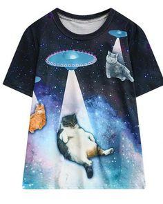 36cfb9aa37fa Hiawatha Women Short Sleeve T-Shirts Summer UFO Cat Printed T Shirt Casual  Woman O-Neck Loose Tops Price history.