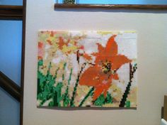 Spring Flowers Large Pixelated Hanging Wall Art