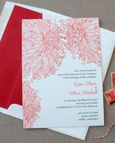 """See the """"Red Chrysanthemum Invitation"""" in our Floral Wedding Invitations gallery Beautiful Wedding Invitations, Cute Wedding Ideas, Floral Wedding Invitations, Wedding Stationary, Wedding Inspiration, Wedding Programs, Wedding Invatations, Red And White Weddings, Wedding Reception Seating"""