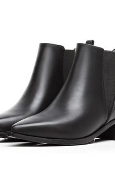 Women's Pure Color Low Heel Thick Heel Pointed Toe Short Boots