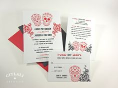 Day of the dead Wedding Save the Date Dia de los Muertos Skull