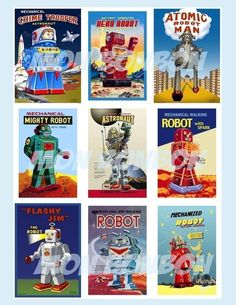 Vintage Retro Roboter digitaler Download Collage von monbonbon