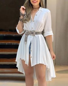 Turn-down Collar Dip Hip Pleated Shirt Dress fashion trends 2019 Blazers,fall fashion trends Winter Coats,fall fashion trends Vogue,fallfashion trends Ready To Trend Fashion, Fashion Mode, Look Fashion, Fall Fashion, Fashion Details, Fashion Brands, Mode Outfits, Dress Outfits, Casual Outfits