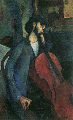El violonchelista (Il violoncellista). AMEDEO MODIGLIANI. Livorno (1884-1920). 1909. Óleo sobre lienzo. 73,5 × 59,5 cm. - Colección privada.