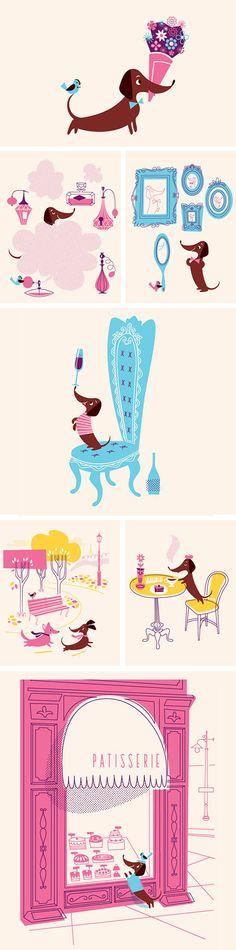Conheçam Monsieur Boudin, um dachshund muito estiloso que vive em Paris. Ele é o personagem principal de uma simpática coleção de cartões criada pelo Lab Partners e vendida na lagom. Adorável! ♥ Me...