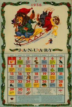 Golden Gems: The Golden Calendar by Richard Scarry- 1956 - Free Printable