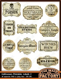Halloween Printable Frames and Labels, for all your digital crafting needs. Download and Print