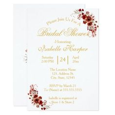 Floral Marsala Gold White Watercolor Bridal Shower Card - floral bridal shower gifts wedding bride party