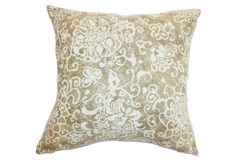 Jaffna 18x18 Cotton Pillow, Wheat