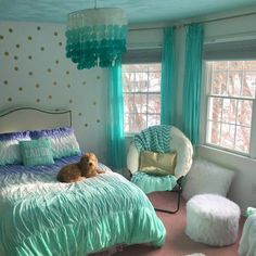 Bedroom Design And Decoration Tips And Ideas - Top Style Decor Girl Bedroom Designs, Room Ideas Bedroom, Bedroom Themes, Bedroom Decor, Tween Girl Bedroom Ideas, Teal Room Decor, Ocean Bedroom Kids, 6 Year Old Girl Bedroom, Ocean Room