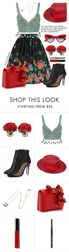"""""""Walk this way: summer booties"""" by jan31 ❤ liked on Polyvore featuring The French Bee, Rosie Assoulin, Christian Louboutin, Chanel, Gucci, Bobbi Brown Cosmetics, Dolce&Gabbana and summerbooties"""