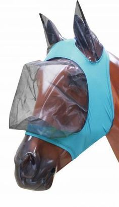 ENGLISH OR WESTERN PONY HORSE LYCRA STRETCH ZIPPERED FLY MASK W/ EARS TEAL BLUE in Sporting Goods, Outdoor Sports, Equestrian | eBay