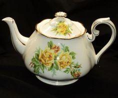 Royal Albert Yellow TEA Rose England TEA POT Teapot With LID | eBay