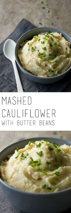 Mashed cauliflower with butter beans recipe - super easy to make in only 20 minutes. A healthy side dish that tastes amazing! Gluten free & vegan option